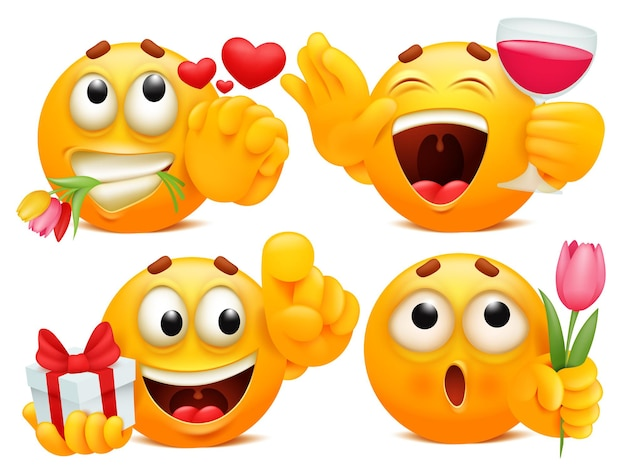 Романтические наклейки. набор из четырех желтых мультяшных эмодзи в различных ситуациях