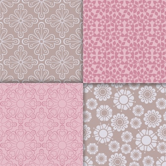 Romantic style pink pattern set