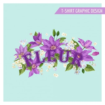 Romantic summer floral design with flowers