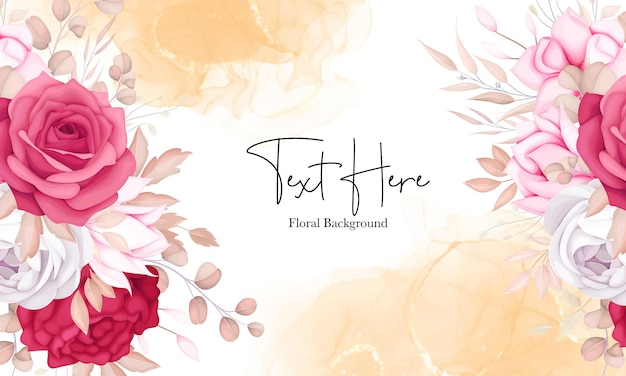 Romantic sweet maroon floral background design