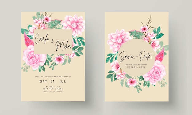 Romantic sweet watercolor pink floral wedding invitation card