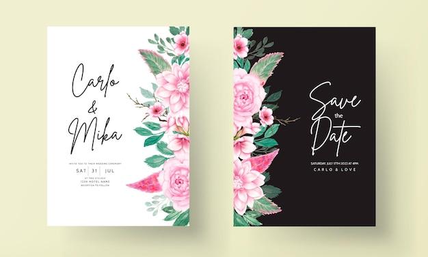 로맨틱 달콤한 수채화 핑크 꽃 결혼식 초대 카드