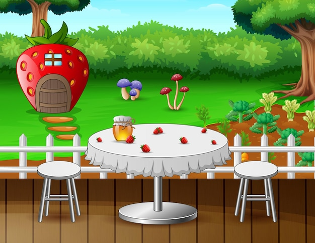 Романтический столик в саду иллюстрации
