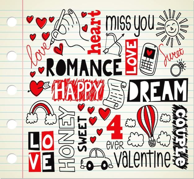 Romantic theme doodle