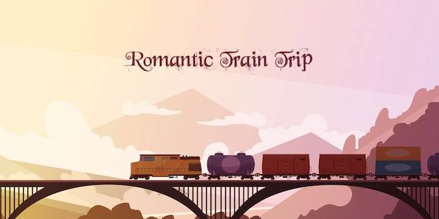 Romantic train trip background