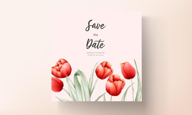 ロマンチックなチューリップの花の結婚式の招待カード
