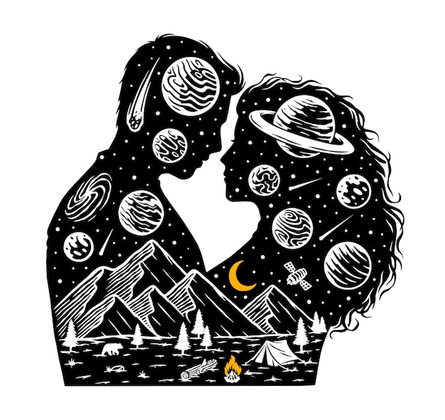 Romantic in the universe illustration