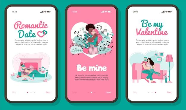 로맨틱 발렌타인 데이 데이트 앱 배너는 날짜에 만화 커플을 설정합니다.