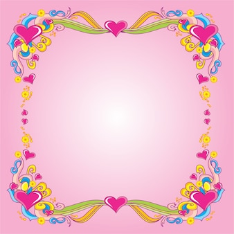 Romantic valentine ornament with pink background