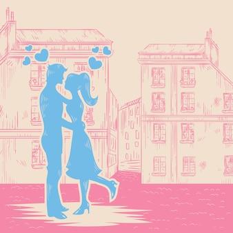 ロマンチックなバレンタインレトロなポストカード