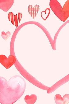 水彩でロマンチックなバレンタインデーのフレームベクトル