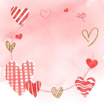 Vettore di cornice di san valentino romantico in acquerello