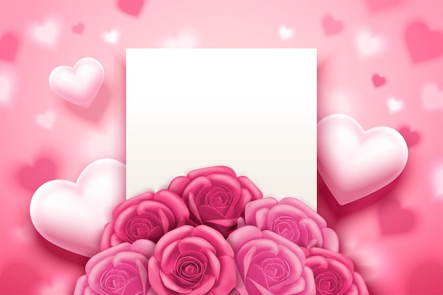 Romantic valentine's card with pink roses and heart decorations, 3d illustration