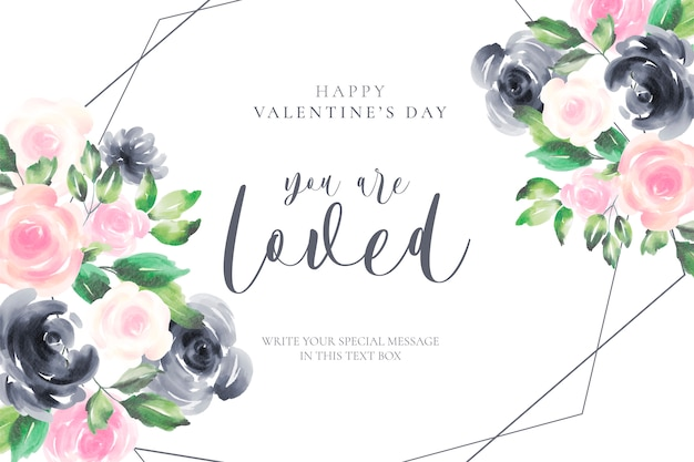 Romantic valentine's day background with watercolor flowers Free Vector
