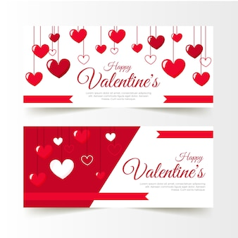 Romantic valentine's day banners