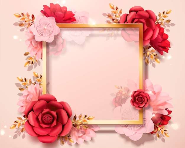 Romantic valentine's day card template with paper flowers in 3d style