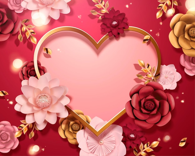 Romantic valentine's day card template with paper flowers and heart shpaed copy space, 3d style