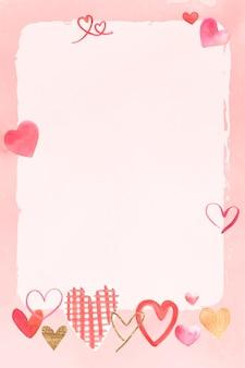 水彩でロマンチックなバレンタインデーのフレーム