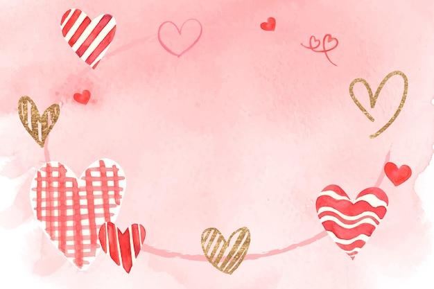 Романтическая рамка на день святого валентина акварелью