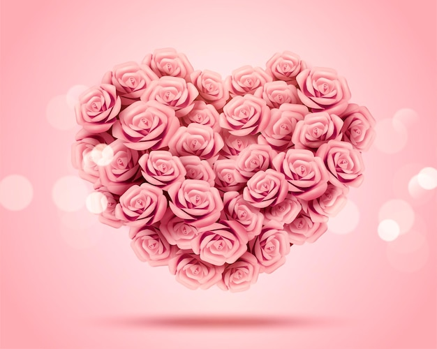 Romantic valentine's day heart shaped paper rose bouquet in 3d illustration