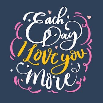 Romantic valentine's day lettering