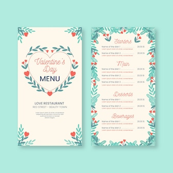Romantic valentine's day menu template