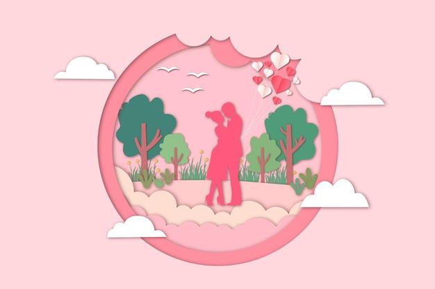 Романтическая вырезка из бумаги на день святого валентина