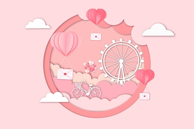ロマンチックなバレンタインデーの紙のカット