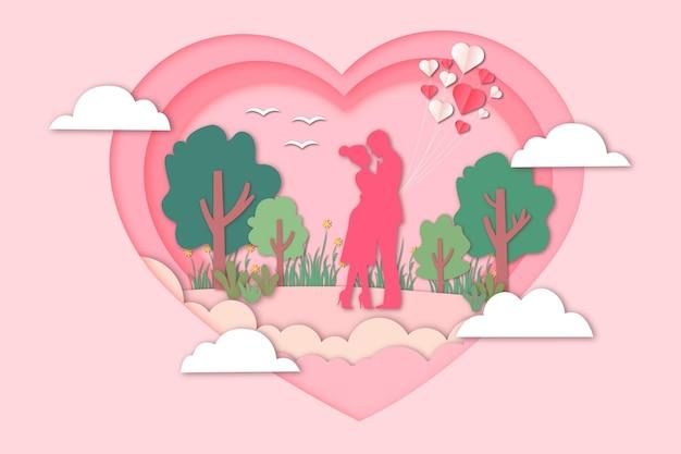 Romantic valentine's day paper cut