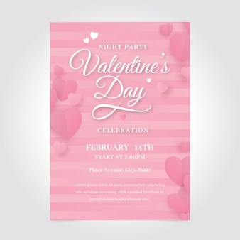 Romantic valentine's day party poster template