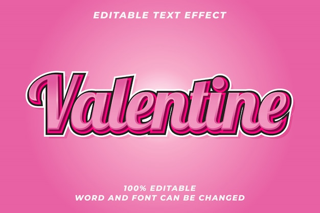 Romantic valentine text style effect