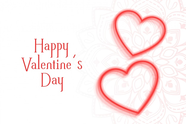 Romantic valentines day greeting card with two hearts