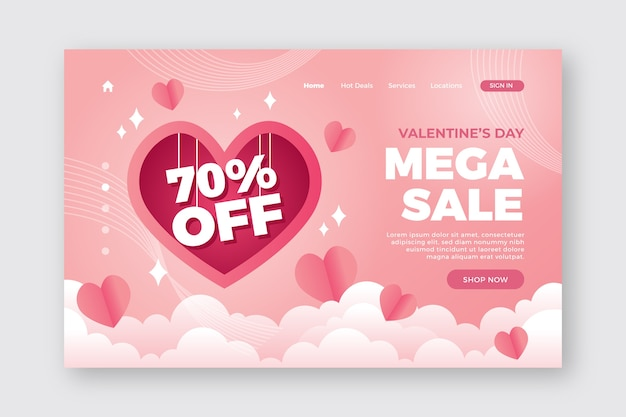 Romantic valentines day landing page