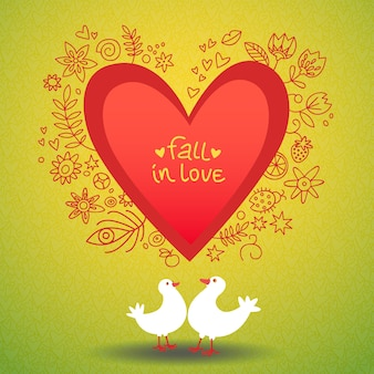Romantic valentines day love card with two doves around red heart illustration