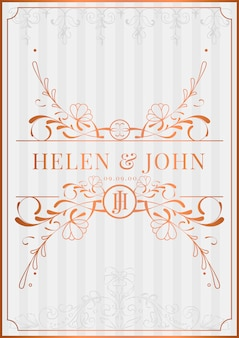 Romantic vintage art nouveau wedding invitation card mockup vector