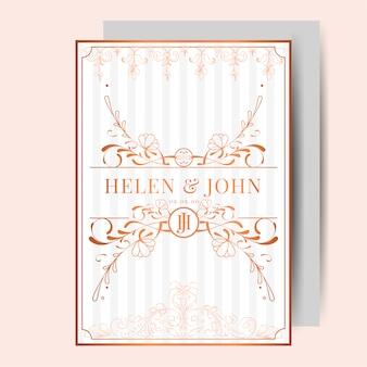 Romantic vintage art nouveau wedding invitation card mockup vector