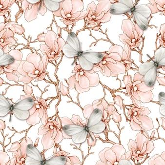 ロマンチックなヴィンテージマグノリアと蝶のシームレスなパターン
