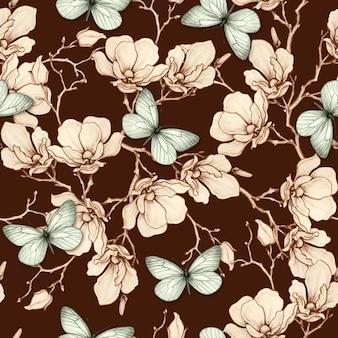 Romantic vintage magnolia and butterflies seamless pattern Premium Vector