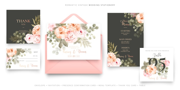 Romantic vintage wedding stationery