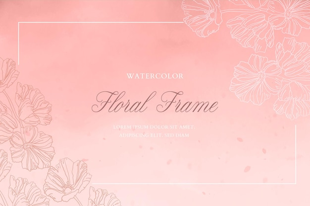 Romantic watercolor background with floral frame