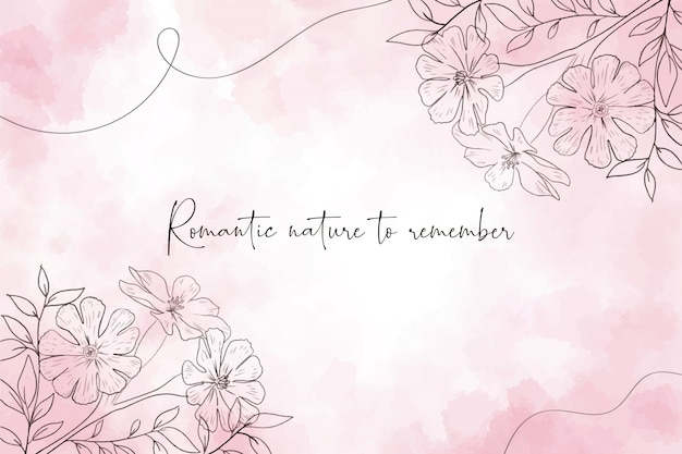 Romantic watercolor background with flowers