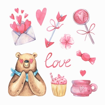 Romantic watercolor collection with bear .