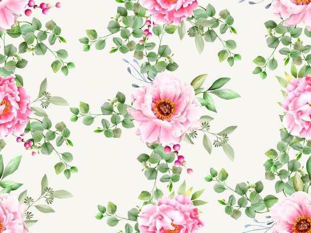 ロマンチックな水彩花のシームレスなパターン