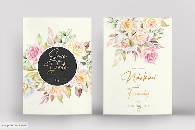 ロマンチックな水彩花のウェディングカードセット