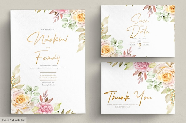 Romantic watercolor floral wedding card set