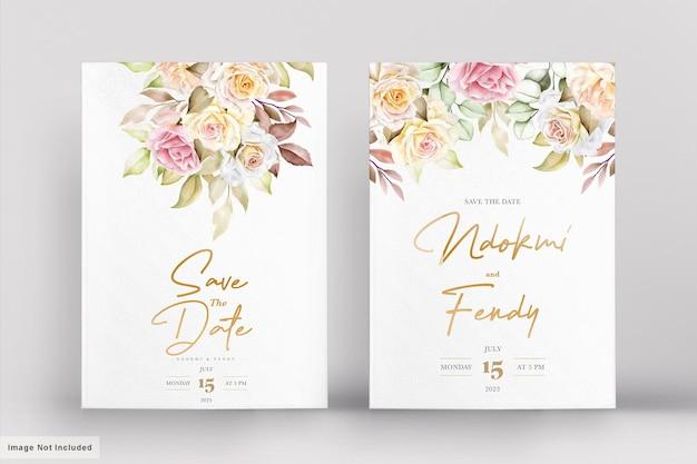 Набор романтических акварельных цветочных свадебных открыток