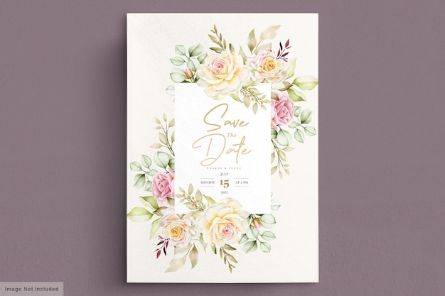 Romantic watercolor floral wedding card