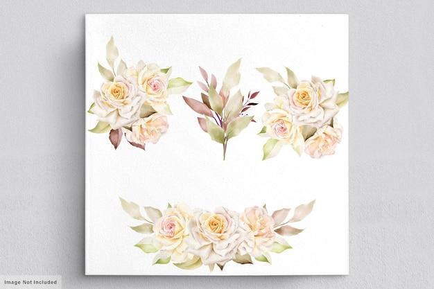 Романтическая акварельная цветочная свадебная открытка