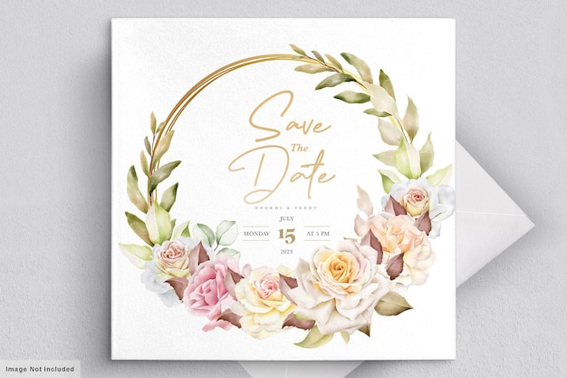 로맨틱 수채화 꽃 웨딩 카드