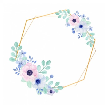 Romantic watercolor frame with anemone flowers